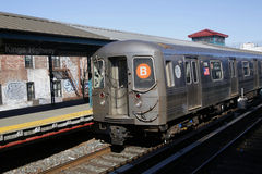 NYC Subway B Train arriving at Kings Highway Station in Brooklyn. BROOKLYN, NEW YORK - MARCH 12, 2015: NYC Subway B Train arriving at Kings Highway Station in Stock Images