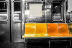 NYC subway car. New York City subway car interior with colorful seats Stock Photos