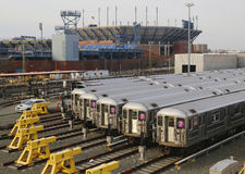 NYC subway cars in a depot. FLUSHING, NEW YORK - March 22: NYC subway cars in a depot on March 22, 2014. It is the most extensive public transportation system in Royalty Free Stock Photo