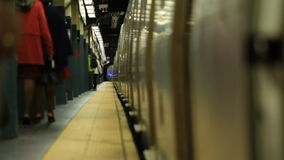 NYC Subway Departing. V14. NYC subway train departing from platform stock video footage