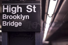 NYC subway. High street Brooklyn Bridge Royalty Free Stock Photo
