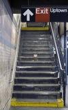 NYC subway platform steps Stock Photo