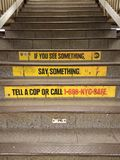 NYC Subway Safety, Security, If You See Something, Say Something, New York City, NY, USA. Signage reminding straphangers, if you see something, say something in royalty free stock image