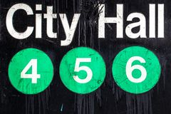 NYC subway Sign. Iconic New York City subway sign with circles Royalty Free Stock Images