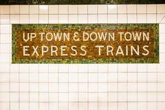 NYC Subway Sign. Tiled New York City subway train sign Royalty Free Stock Image