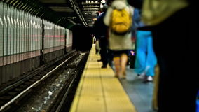 NYC Subway Time Lapse. V11. NYC subway time lapse clip of multiple trains stock video footage