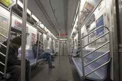 NYC subway train Stock Images