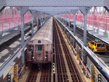 NYC Subway on Williamsburg Bridge Stock Photo