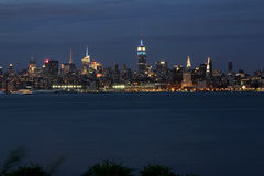 NYC at sunset. Skyline of New York City taken at sunset from New Jersy Royalty Free Stock Photo