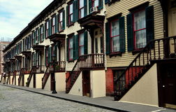 NYC: Sylvan Terrace Wooden Row Houses Stock Photography
