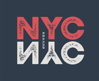 NYC t-shirt and apparel design with textured lettering. Stock Photo