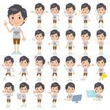 NYC T-shirt half pants men. Set of various poses of NYC T-shirt half pants men Stock Photo
