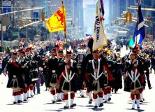 NYC: Tartan Day Parade Bagpipers Royalty Free Stock Image