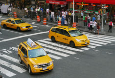 NYC Taxi. Yellow taxi of NYC in Times Square Royalty Free Stock Photography