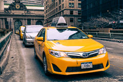 NYC Taxi in Midtown Manhattan Stock Photography