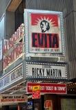 NYC: Tenda foranea per Evita del Broadway Fotografia Stock