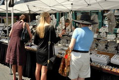 NYC: Three Woman Shopping at Street Festival Royalty Free Stock Image