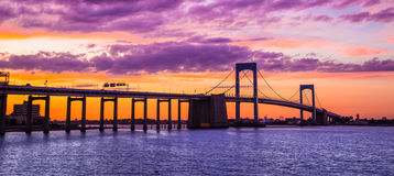 NYC Throgs Neck Bridge Sunset royalty free stock photography