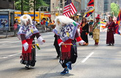 NYC:  Tibetan Dancers Marching in Parade Stock Photos