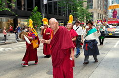 NYC: Tibetan Monks Marching in Parade Royalty Free Stock Photography