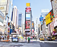 NYC times Square. NEW YORK CITY - SEPTEMBER 22: Times Square, famous tourist attraction featured with Broadway Theaters and famous restaurant and store locations stock photos