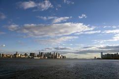NYC to Jersey City. New York City harbor, hudson river from downtown, across the Verazzano Bridge to Jersey City New Jersey stock images