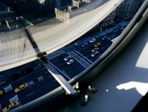 NYC traffic from a circular window. NYC traffic and yellow cabs from a circular window royalty free stock photos