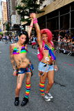 NYC:  Two Colourful Marchers at Gay Pride Parade Stock Photo