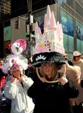 NYC: Two Women in Easter Bonnets Royalty Free Stock Image