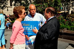 NYC: U. S. Congressman Jerrold B. Nadler. NYC:  United States Congressman Jerrold B. Nadler (right) talks to volunteers campaigning for local NYC candidates Royalty Free Stock Photography