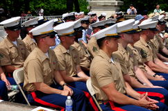 NYC:  U.S. Marines at Memorial Day Ceremonies. NYC - May 26, 2014:  United States Marines, veterans, and U. S. Navy sailors attending the Memorial Day Stock Photography
