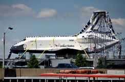 NYC: U. S. Space Shuttle Enterprise. NASA's newly arrived United States Space Shuttle Enterprise sitting atop the deck of the Intrepid Air & Space Museum in New Stock Photos