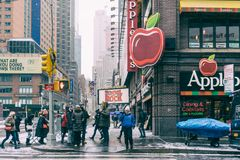 NYC/USA - 29 DEZ 2017 - famous new york avenue. Times square. stock photography