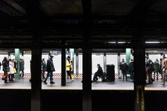 NYC/USA 31 DEZ 2017 - New york subway with movement. royalty free stock photo