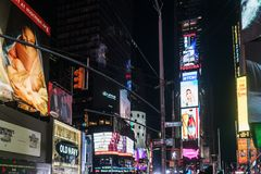 NYC/USA 31 DEZ 2017 - View of Times Square, New York at night. royalty free stock images