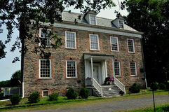 NYC:  1748 Van Cortlandt Manor House Museum. NYC (The Bronx):  South front of high Georgian 1748 Van Cortlandt Manor House built in dressed fieldstone with a Stock Photography