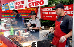 NYC: Vendors Selling Grilled Meats at Fair Stock Photography