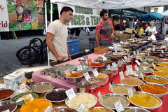 NYC: Vendors Selling Spices at Street Fair stock image