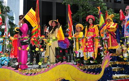 NYC: Vietnamese Women Riding on Parade Float Royalty Free Stock Photo