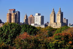 NYC: View of Central Park West Skyline from Central Park Stock Photos
