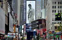 NYC: View down Broadway to Times Square. View looking south down Broadway from West 51st Street to West 45th Street with the massive billboards, signs, and royalty free stock image