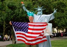 NYC: Visitor with Mime Lady Liberty Stock Image