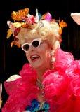 NYC: Vrouw die Butteffly-Hoed dragen bij Pasen-Parade Royalty-vrije Stock Foto's