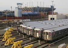 NYC wagony metru w zajezdni Zdjęcie Royalty Free
