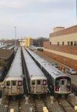 NYC wagony metru w zajezdni Fotografia Stock