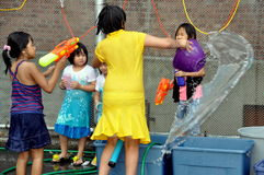 NYC: Water Fun at Burmese Festival Stock Image