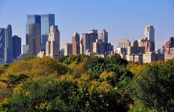 NYC: Widok Manhattan linia horyzontu od central park Zdjęcia Stock