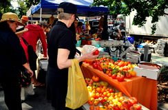 NYC: Woman Buying Tomatoes at Farmer's Market Royalty Free Stock Photography