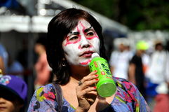 NYC: Woman in Kabuki Makeup at Japan Day Festival Royalty Free Stock Images