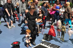 NYC: Woman with Marionettes in Times Square Stock Image